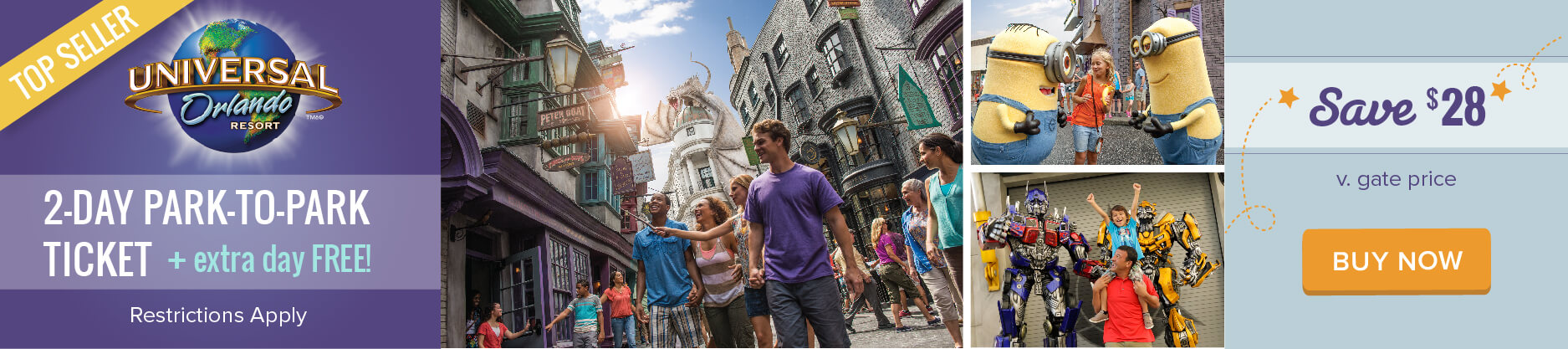 Universal Orlando 2-Day Park-to-Park + Extra Day Free - Save $31!